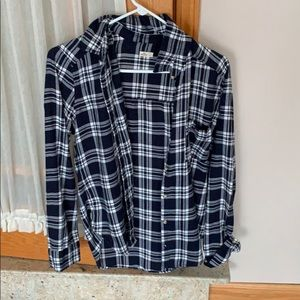Blue and white mens flannel